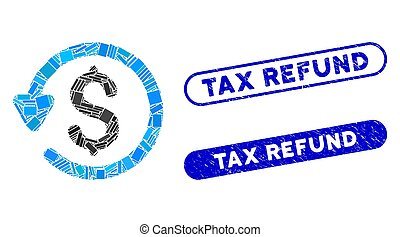 Rectangle Collage Refund with Scratched Tax Refund Seals