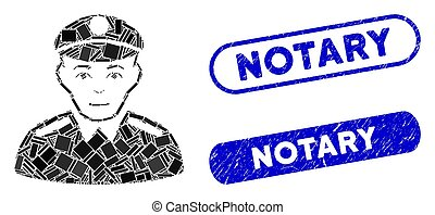Rectangle Collage Soldier with Distress Notary Seals