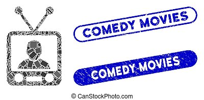 Rectangle Collage TV News with Grunge Comedy Movies Stamps