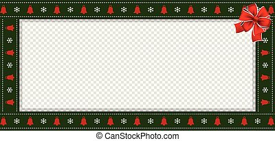 Rectangle festive border banner with red bow for christmas