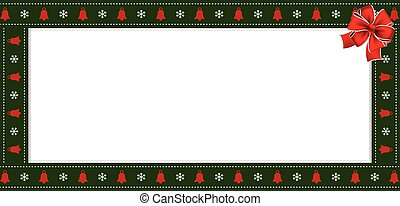 Rectangle festive border banner with red ribbon for new year
