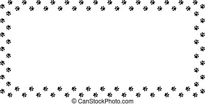 Rectangle frame made of black animal paw prints on white background.