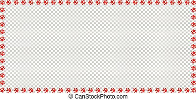 Rectangle frame made of red animal paw prints isolated