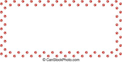 Rectangle frame made of red animal paw prints on white