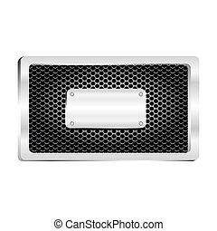 rectangle frame metallic with grill perforated and shiny brushed plaque