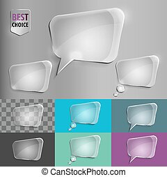 Rectangle glass speech bubble icons with soft shadow on gradient background . Vector illustration EPS 10 for web.