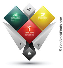 rectangle group banner - Vector business concepts with icons...