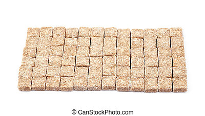 Rectangle made of sugar cubes isolated