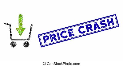 Mosaic add to basket and corroded stamp seal with Price Crash text. Mosaic vector add to basket is designed with randomized rectangles. Price Crash stamp seal uses blue color.