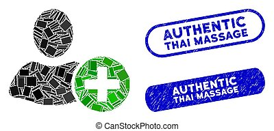 Rectangle Mosaic Add User with Textured Authentic Thai Massage Stamps
