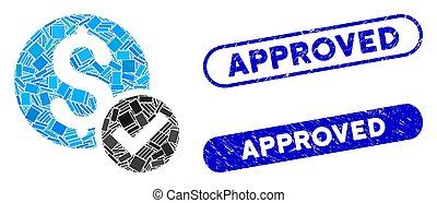 Rectangle Mosaic Approved Payment with Scratched Approved Seals