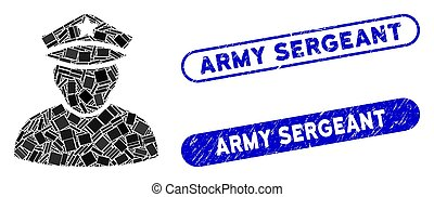 Rectangle Mosaic Army Sergeant with Grunge Army Sergeant ...