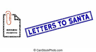 Rectangle Mosaic Attach Document with Textured Letters to Santa Stamp