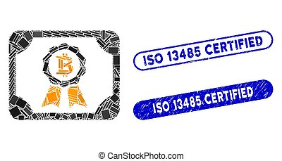 Rectangle Mosaic Bitcoin Certificate with Scratched ISO 13485 Certified Seals