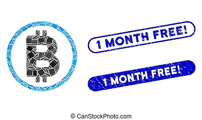 Rectangle Mosaic Bitcoin Rounded with Distress 1 Month Free! Stamps