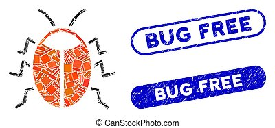Rectangle Mosaic Bug with Distress Bug Free Stamps