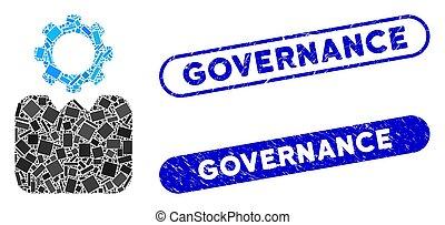 Rectangle Mosaic Bureaucrat with Grunge Governance Seals