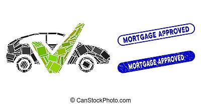 Rectangle Mosaic Car Test with Textured Mortgage Approved Stamps