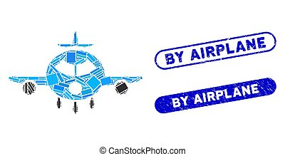 Rectangle Mosaic Cargo Aircraft with Scratched By Airplane Stamps