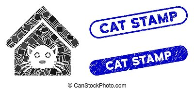 Rectangle Mosaic Cat House with Textured Cat Stamp Stamps