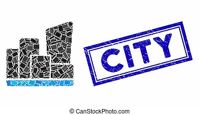 Rectangle Mosaic City with Textured City Stamp