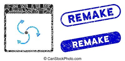 Mosaic cyclone calendar page and rubber stamp seals with Remake phrase. Mosaic vector cyclone calendar page is designed with random rectangle items. Remake stamp seals use blue color,