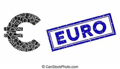 Rectangle Mosaic Euro with Grunge Euro Seal
