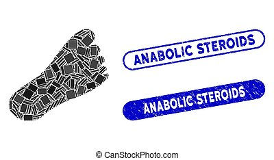 Rectangle Mosaic Foot with Distress Anabolic Steroids Seals