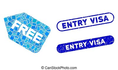 Rectangle Mosaic Free Sticker with Textured Entry Visa Seals