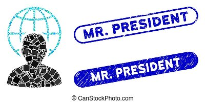 Rectangle Mosaic Global Governor with Grunge Mr. President Seals