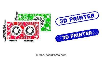 Rectangle Mosaic GPU Cards with Distress 3D Printer Seals