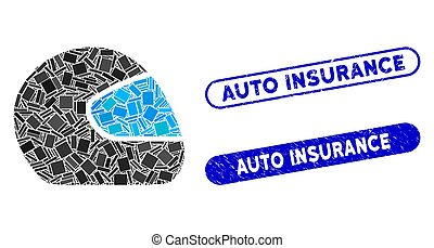 Rectangle Mosaic Motorcycle Helmet with Scratched Auto Insurance Stamps