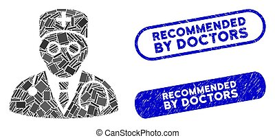 Rectangle Mosaic Physician with Textured Recommended by Doctors Seals