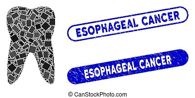 Mosaic tooth and rubber stamp seals with Esophageal Cancer caption. Mosaic vector tooth is created with scattered rectangle items. Esophageal Cancer stamp seals use blue color,