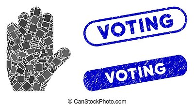 Rectangle Mosaic Voting Hand with Grunge Voting Stamps