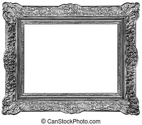 Rectangle Old silver-plated wooden frame isolated on white background
