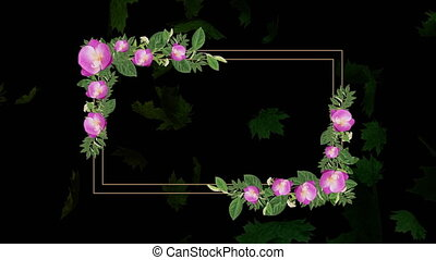 Animation of a rectangle outline decorated with green leaves and pink flowers on a black background with floating leaves. Romantic spring or summer seasonal greeting background concept