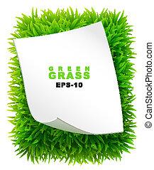 rectangle, papier, feuille, herbeux, propre