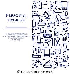 rectangle., pionowy, kształt, ikony, osobisty, editable, higiena, uderzenie, kreska, chorągiew