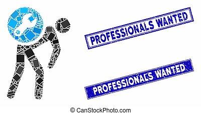 rectangle, professionnels, voulu, courrier, détresse, service, filigranes, mosaïque