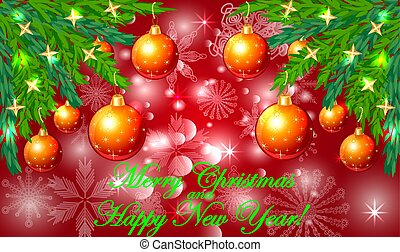 Rectangle red Christmas background with snowflakes, coniferous branches, decorated with red balls, stars. The inscription Merry Christmas and a Happy New Year