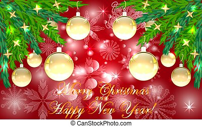 Rectangle red Christmas background with snowflakes, coniferous branches in the corners, decorated with golden balls, stars. The inscription of Merry Christmas and a Happy New Year