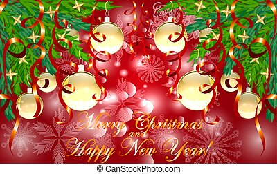 Rectangle red Christmas background with snowflakes, coniferous branches in the corners, decorated with golden balls, stars, ribbons. The inscription of Merry Christmas and a Happy New Year