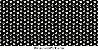 Rectangle seamless banner with white animals paw prints on black background.