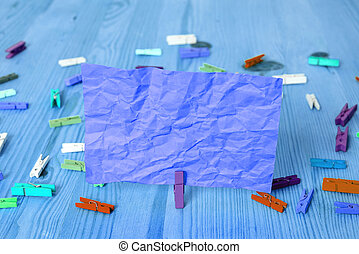 Rectangle Square Shaped Colored Paper With Clothespin Or Paper Ball In A Light Background. Colorful Crumpled Note Spread Around The Table. Office Supplies In A Desk.