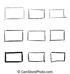 Rectangle templates hand drawn simple set