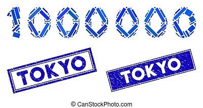 rectangle, texte, 1000000, timbres, détresse, chiffres, tokyo, mosaïque