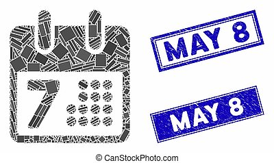 rectangle, timbres, calendrier, page, jour, mosaïque, gratté