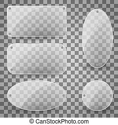 Rectangle transparent glare glass panel with steel rivets. Set of transparent glare glass plates of different shapes. Vector Illustration