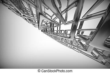 rectangles., astratto, metallico, fondo, tecnologia, 3d
